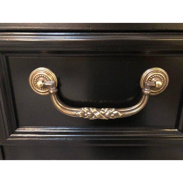 Maison Jansen Louis XVI Style Bronze-Mounted Ebony Writing Desk or Vanity in Jansen Manner For Sale - Image 4 of 13