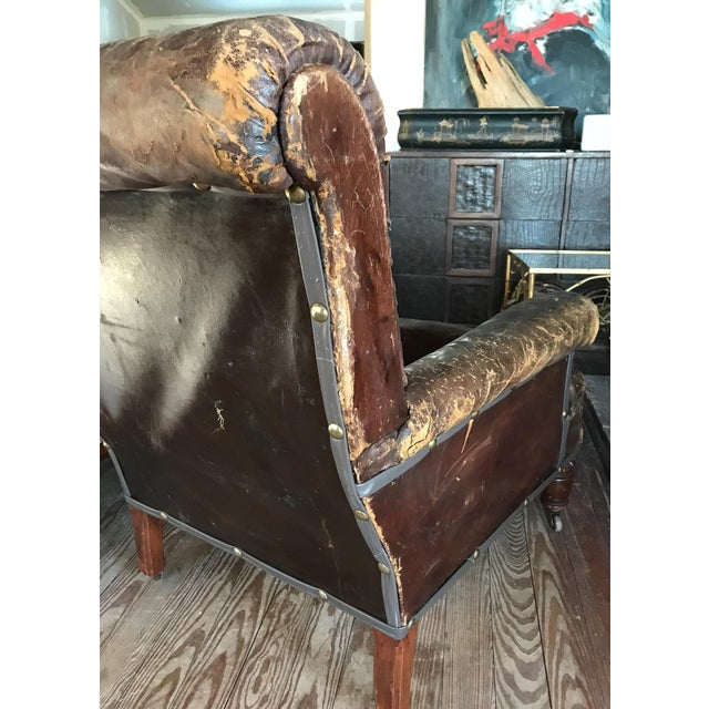 Old, Distressed Leather Club Chair For Sale In New York - Image 6 of 10