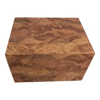 Milo Baughman Burl Wood Cube Coffee End Table