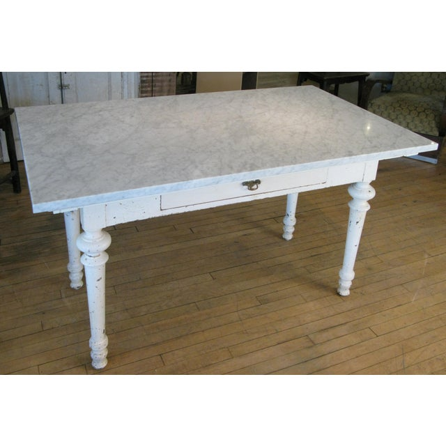 Antique 19th Century Refectory Table With Venatino Marble Top For Sale - Image 4 of 9