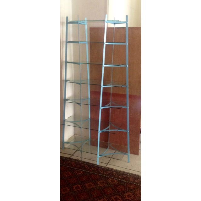 Mid-Century Industrial Metal Glass Shelving Unit - Image 2 of 10