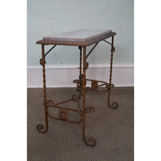 Antique Wrought Iron Marble Top Side Table - Image 4 of 10