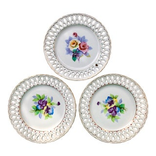 Hand Painted Floral Reticulated Porcelain Plates- Set of 3 For Sale