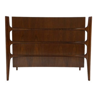 Sculptural William Hinn for Urban Furniture Scandinavian 4 Drawer Walnut Chest For Sale