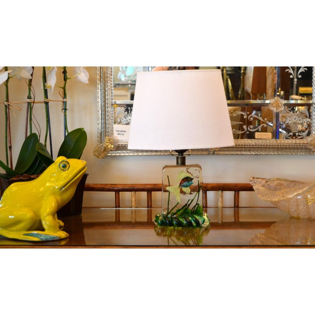 Gino Cenedese Murano Glass Table Lamp & Shade With Fish and Seaweed, Italy 1950 For Sale - Image 12 of 13