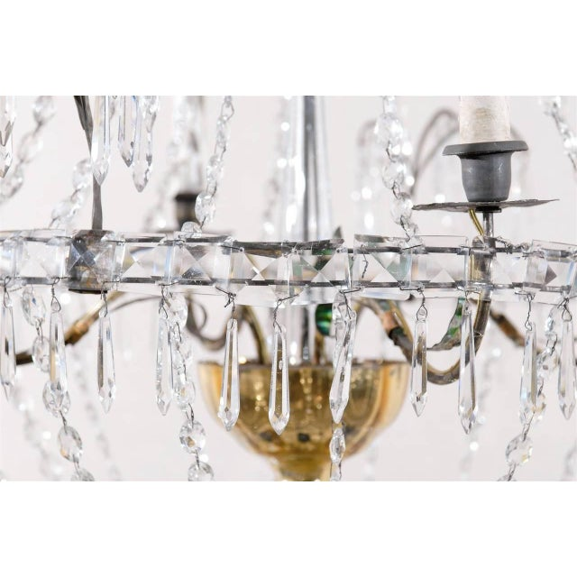 Italian Crystal Four-Light Chandelier With Crystal Center Column For Sale - Image 9 of 11