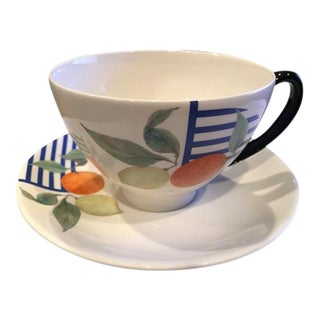 La Ronde Des Fruits by Gien France Cup & Saucer - A Pair For Sale