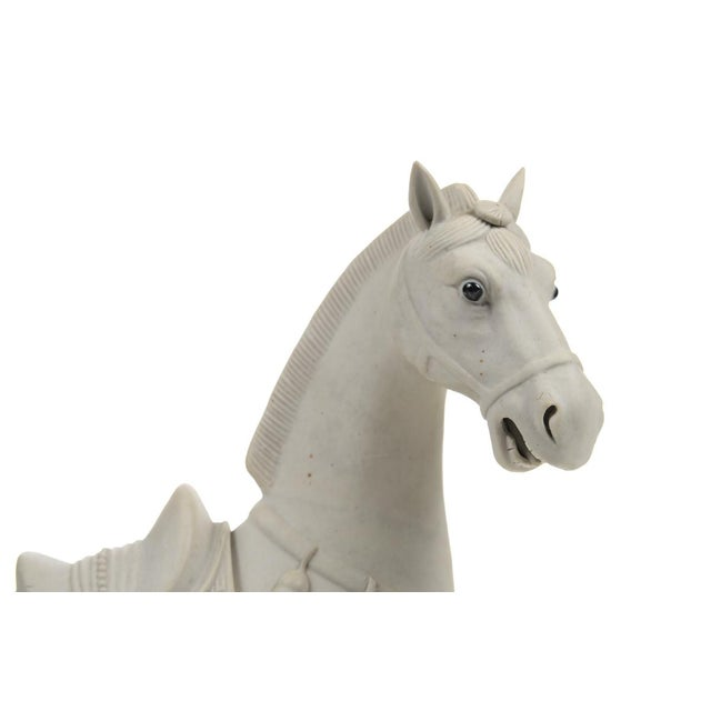 Rare Chinese Bisque Porcelain Horse Figurines - 2 For Sale - Image 4 of 9