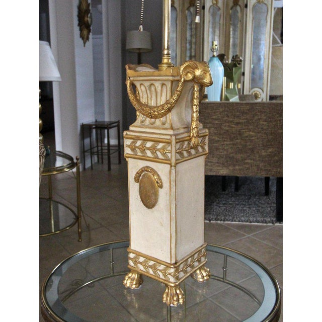 French Gilt Wood Rams Head Paw Feet Table Lamp For Sale - Image 11 of 13