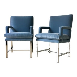 Pair of Chromium Steel Framed Carver Armchairs Late 1970s For Sale