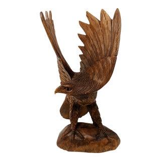 Rustic Handcarved Eagle Sculpture For Sale
