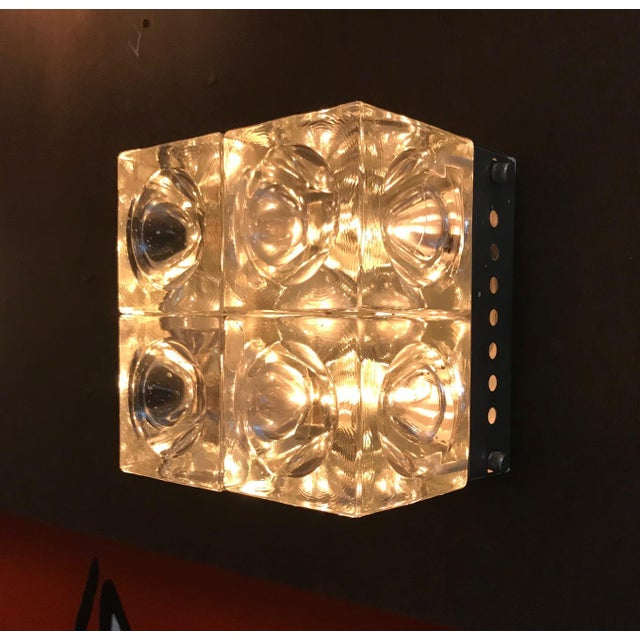 Metal Italian Murano Glass Cube Sconces / Flush Mounts by Poliarte - a Pair For Sale - Image 7 of 11