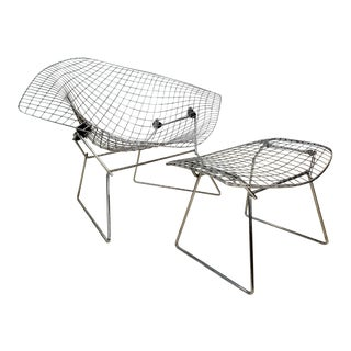 Bertoia Diamond Chair and Ottoman - 2 Pieces For Sale