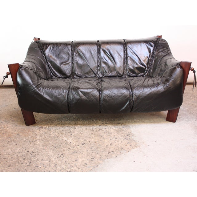 Percival Lafer MP-211 Jacaranda and Leather Two-Seat Sofa with Ottoman - Image 5 of 10