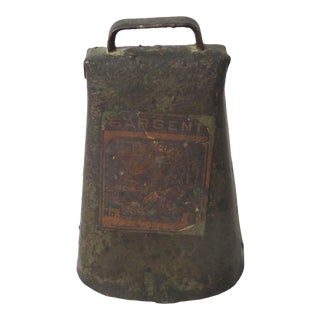 Antique Bull Size American Primitive Cow Bell For Sale