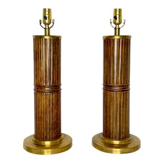 Mid Century Boho Faux Bamboo Metal & Brass Table Lamps - a Pair For Sale