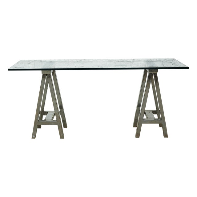 Mason Glass Top Desk by Williams-Sonoma Home - Image 1 of 5