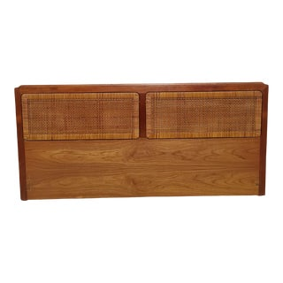 Vintage King Size Mid-Century Modern Walnut Headboard With Cane Inserts -and For Sale