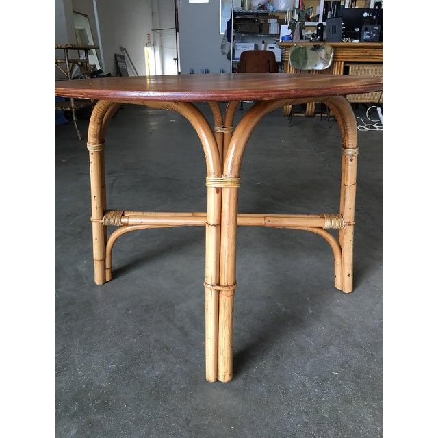 "Boho Chic Restored Large Round ""X"" Base Rattan Coffee Table With Oak Top For Sale - Image 3 of 6"
