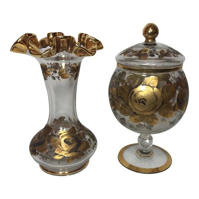 Hand Painted Crystal Jar & Vase - Image 1 of 7