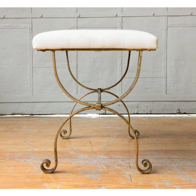 Gilt Iron Bench in Muslin For Sale - Image 5 of 9