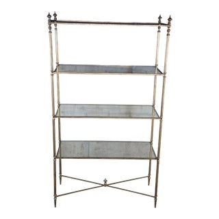 Neoclassical Directoire Style Iron & Glass Étagère Bookshelf For Sale