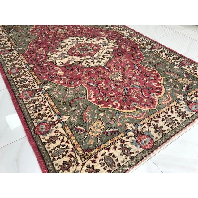 Textile 1970s Vintage Turkish Floral Area Rug - 6′2″ × 9′7″ For Sale - Image 7 of 11