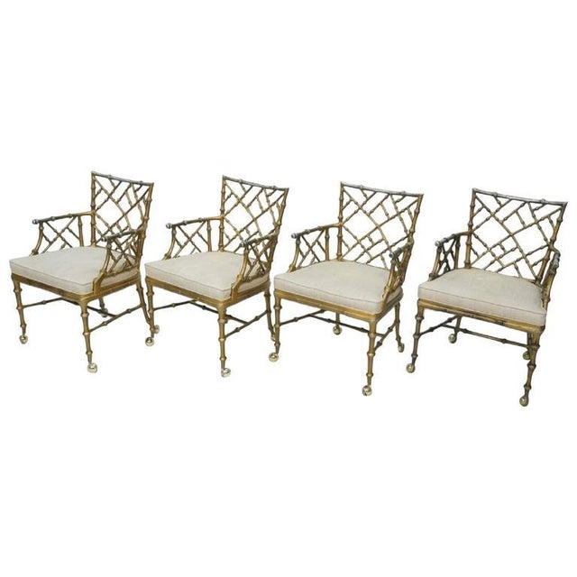 1970s Hollywood Regency Phyllis Morris Metal Bamboo Armchairs - Set of 4 For Sale In Houston - Image 6 of 6