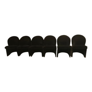 1980s Black Art Deco Dining Chairs - Set of 6 For Sale