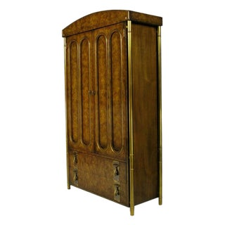 Mastercraft Burled Wood and Brass Tall Cabinet For Sale