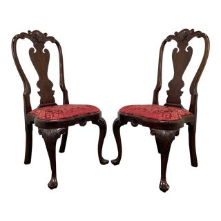 Stickley Williamsburg Queen Anne Mahogany Dining Side Chairs - Pair 1 For Sale