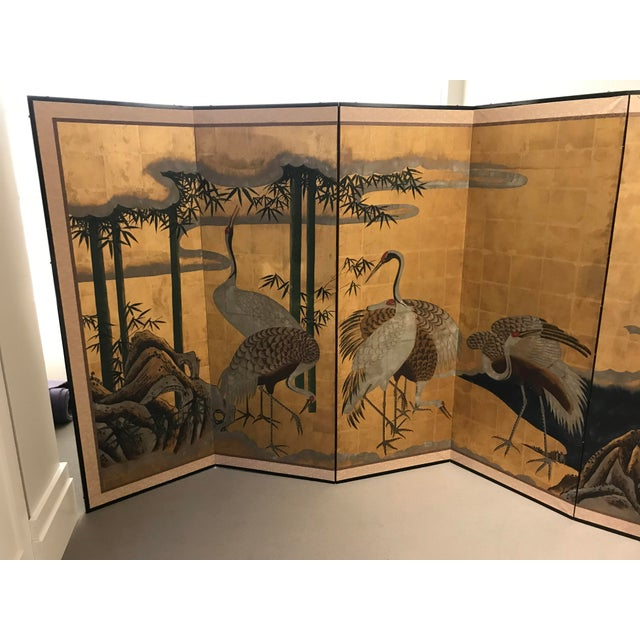 Late 18th Century 18th Century Japanese Byobu Hand Painted Cranes Watercolor Gold Leaf on Paper For Sale - Image 5 of 8