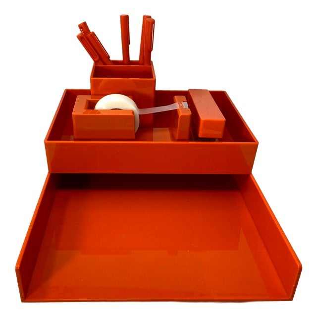 Orange Lucite Complete Stackable Office Desk Accessory Set – Collection of 12 For Sale - Image 10 of 10