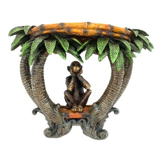 Late 20th Century Sitting Monkey Under Coconut Palm Trees Wall Shelf For Sale