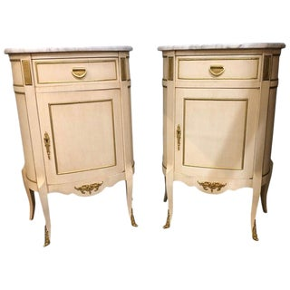 Pair of Demilune Louis XV Style Painted and Bronze-Mounted End Tables For Sale