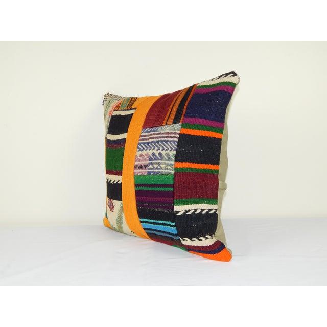 "Tribal Vintage Turkish Patchwork Kilim Pillow 20"" X 20"" For Sale - Image 3 of 6"