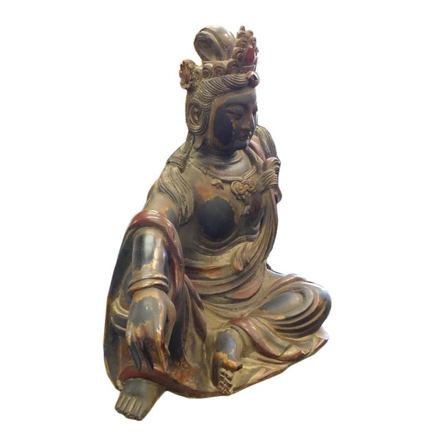 Distressed Golden Black Wood Kwan Yin Statue - Image 9 of 10