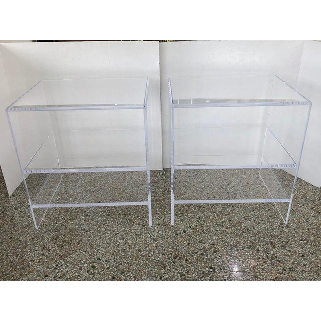 Floor sample Lucite Nightstands with Beveled Top Edges the pair - Night Stands Floor samples are on display in the Iconic...