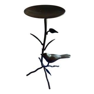 Bronze Metal Branches & Bird Candle Holder