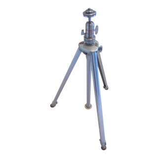 Mid Century Modern Linhof Chrome Movie Camera Tripod For Sale