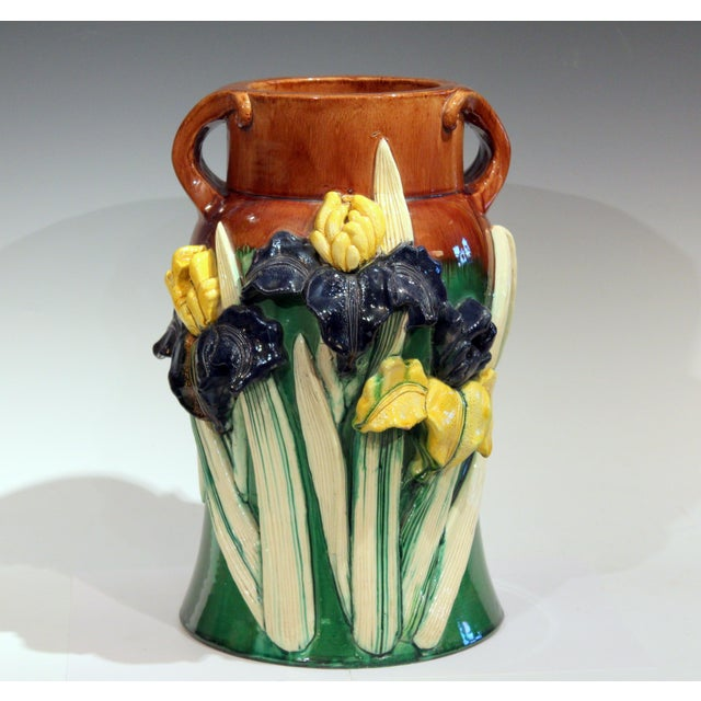 Large 1920s Awaji Pottery Antique Applied Irises in Deep Relief Vase For Sale - Image 13 of 13