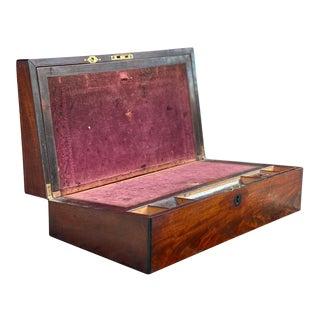 Antique Regency Walnut Portable Lap Desk Writing Slope Box For Sale