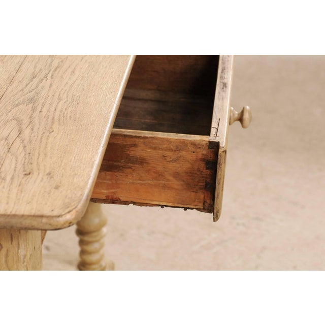 Wood 18th Century Swedish Period Baroque Wood Side Table on Turned Legs For Sale - Image 7 of 12