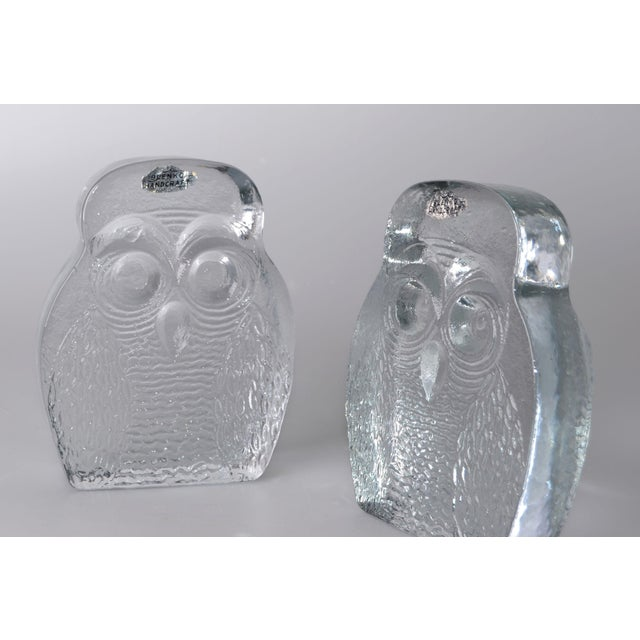 Vintage BLENKO Thick Glass Owl Bookends - Image 6 of 8