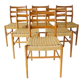 Ladder-Back Teak Dining Chairs - Set of 6 For Sale