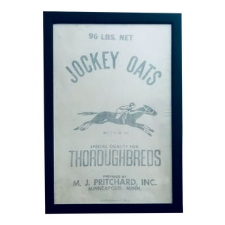 Vintage Jockey Oats Feed Bag Equestrian Race Horse Wall Art For Sale