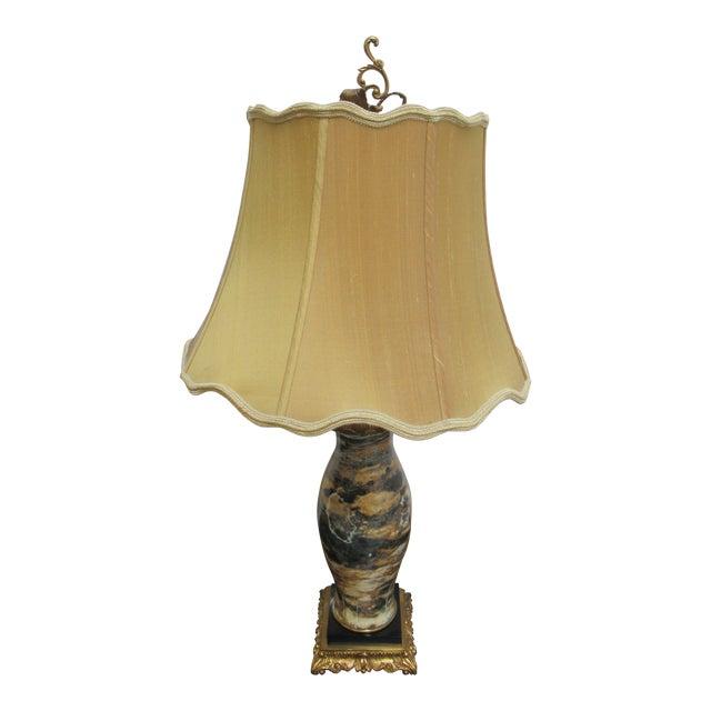 Italian Regency Louis XV Brass Marble Urn Table Lamp For Sale