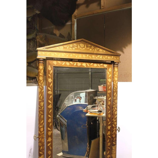 Mid 19th C. Antique Inlaid Wood Floor Mirror For Sale - Image 4 of 4