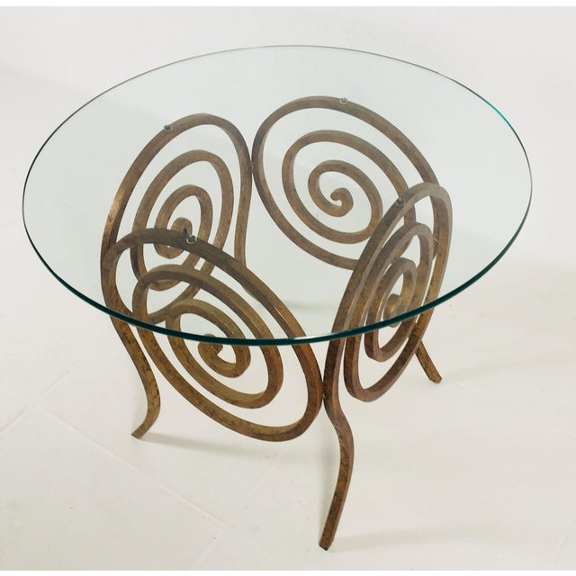 Bauhaus Scroll Wrought Iron & Glass Coffee Table For Sale - Image 3 of 8