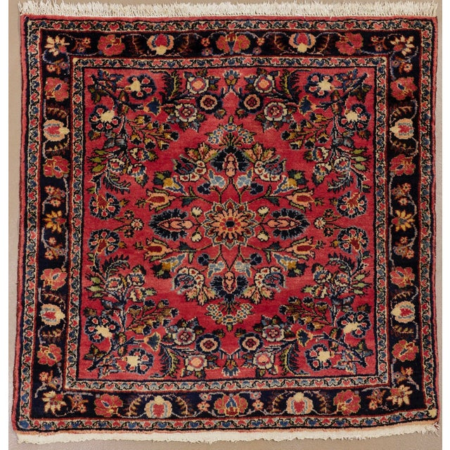 """1920s Vintage Persian Hamadan Square Rug, 3'3"""" X 3'5"""" For Sale In Phoenix - Image 6 of 6"""
